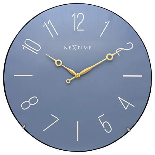 """NeXtime große Wanduhr \""""TRENDY DOME\"""", lautlos, rund, Blau, ø 35,6 cm"""