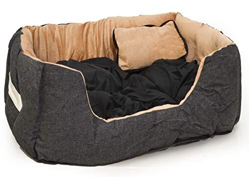 EYEPOWER Katzenbett Hundebett 50x45x18 cm Katzenkissen Hundekissen Waschbar Tierkissen Tierbett Innenkissen Schwarz-Beige