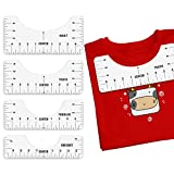 Woffoly 4 Guía de la Regla de la Camiseta del Paquete, la Herramienta de Alineación Hacer Un Diseño del Centro de Costura de la Moda, Guía de Vinilo para Diseños en Camiseta(Blanco)