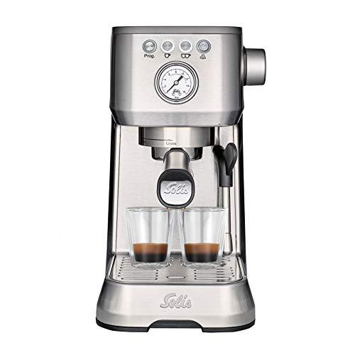 Solis Espressomaschine, Manometer, Dampf- und Heißwasserfunktion, PID-Temperaturregler, 54 mm Siebträger mit Doppelauslauf, 15 bar, 1,7 l Wassertank, Edelstahl, Barista Perfetta Plus (Typ 1170)