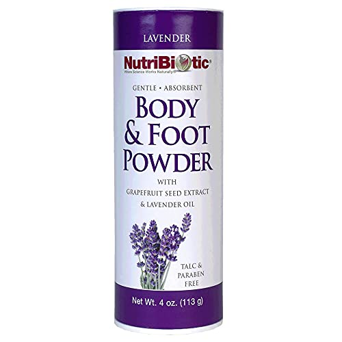 NutriBiotic Body and Foot Powder | Natural Lavender Scent from Essential Oils | 4 ounce | Non-GMO | With Grapefruit Seed Extract| Vegan | Talc, Paraben, and Gluten Free | Gentle and Absorbent