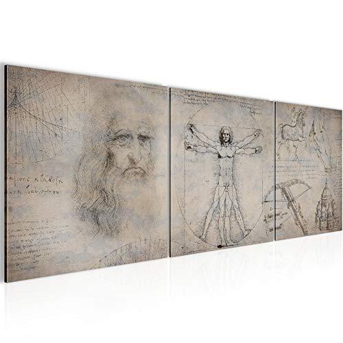 decoración de la mesa de la pared de Leonardo da Vinci - 120 x 40 cm Vista de impresión en lienzo Salón Apartamento - listo para colgar - 008933b
