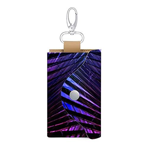 Estuche para llaves de piel con forma de árbol de palmera, con diseño de hoja de origami, con llavero y tarjetero