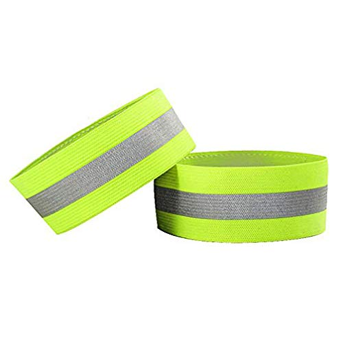 Emoly Premium Reflective Wristbands- 4 Pack Adjustable Reflective Armband Arm Wrist Ankle Leg Band - Reflective Tape Strap for Clothing Biking and Safety Night Walking (Green)
