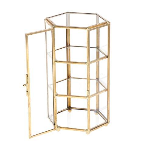 PETSOLA Geometrisches Glas Terrarium Kasten Schmuckschatulle Glas Sukkulente Pflanzgef Deko Hexagon Form - Kupfer, 11x10x19cm