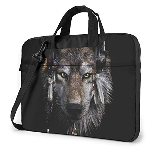 DJ Wolf Laptop Shoulder Bag 15.6 Inch Laptop Messenger Case Laptop Sleeve Carrying Case with Strap