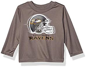 NFL Baltimore Ravens Boys Long Sleeve GREY LOGO TEE SHIRT, Team Color, 18M