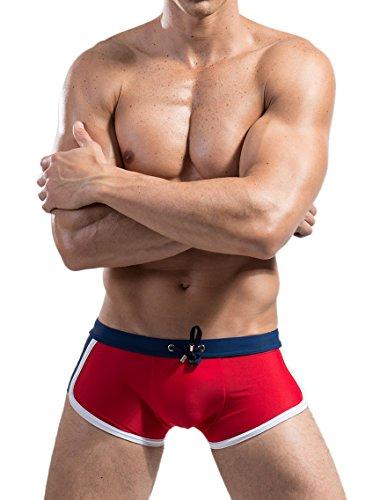 Ateid Herren Badehose Kurze Schwimmhose Boxer Badepants, Rot XL