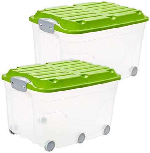 Rotho Roller 6 2er-Set Aufbewahrungsbox 57l mit Deckel und Rollen, Kunststoff (PP) BPA-frei, transparent/grün, 2 x 57l (60,0 x 40,0 x 45,0 cm)