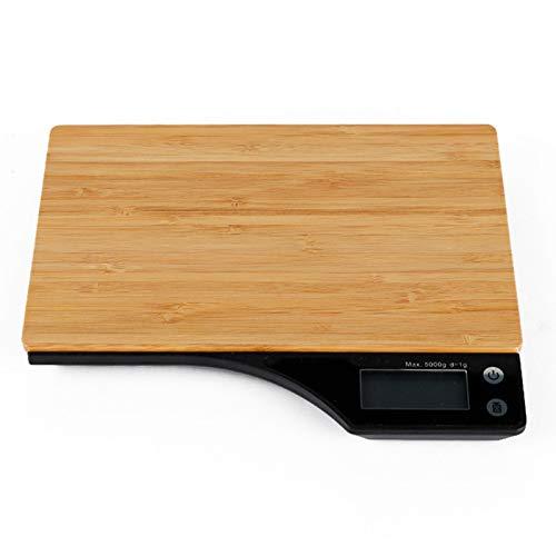 N \ A Báscula de Cocina Digital de bambú para el hogar, Capacidad de 11 Libras, mililitros/LB/oz/g, Cuatro Unidades se Pueden convertir libremente, Hornear, empaquetar