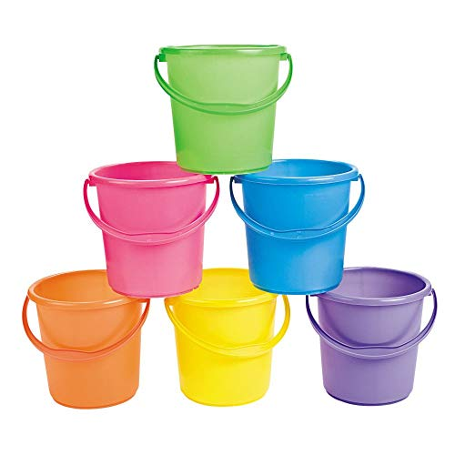 Sand Pails and Buckets for Kids (Set of 12 bright colored pails with handles) Great for Easter, the Beach and Play