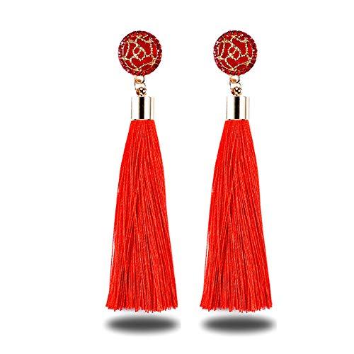 Shager Borlas Largo Pendientes de Flecos Bohemios para Mujer para Regalo de Cumpleaños Decoración de Fiesta (Rojo)
