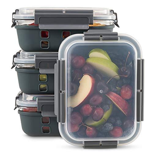 Zoë&Mii 4er-Set Silikon Glas frischhaltedose mit Deckel, Lunch-Box Glas BPA-frei, Vorratsdosen für Mikrowelle & Gefrierschrank, 1050 ml Essensbehälter Dicht & Spülmaschinenfest