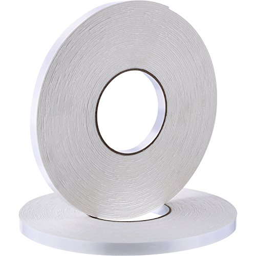 2 Rolls Double Sided Foam Tape White PE Foam Tape Sponge Soft Mounting Adhesive Tape (1/2 inch by 50 Feet)