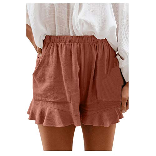 Gofodn Pantalones Cortos Mujer Deporte Verano Talla Grande, Shorts Womens Summer Clothes Ladies Fashion Plus Size High Waist Elastic Waist Folds Loose Mini Beach Pants