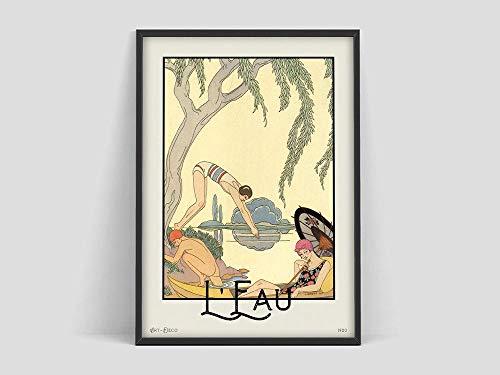 Póster de George Barbier, Museo de arte vintage, arte francés, impresión Art Deco, póster de arte de mediados de siglo, lienzo sin marco N 60x80cm