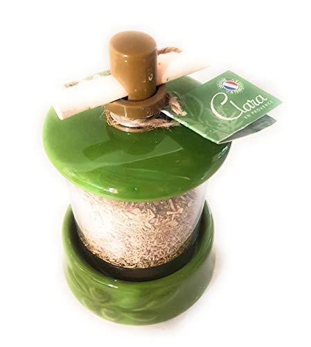 1 Moulin à herbe de Provence - couleur vert - motif feuille d'olivier