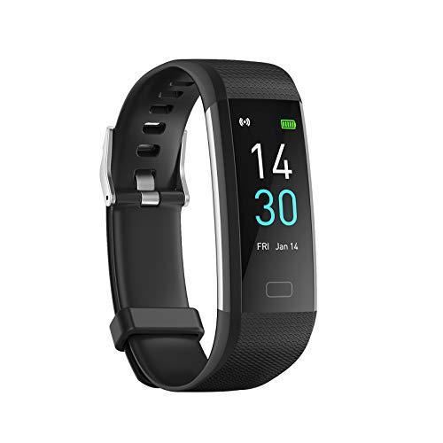 Konesky Fitness Tracker Monitor de Ritmo cardíaco Pulsera de presión Arterial Actividad Reloj Podómetro Contador de calorías Pulsera para Android iOS Smartphone (Versión Mejorada-Negro)