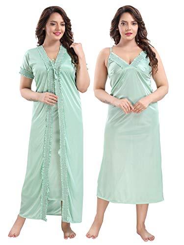 TRUNDZ Women's Satin Full Length Night Sleep Wear Nighty (NTY2495-2506, L.Green, Free Size)