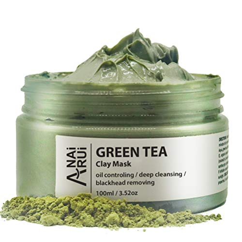 ANAIRUI Green Tea Facial Mud Mask for all Skin types- Deep Pore Cleansing & Blackhead Remover Mud Mask, Pore Minimizer, Hydrating and Moisturizing 3.52 Oz