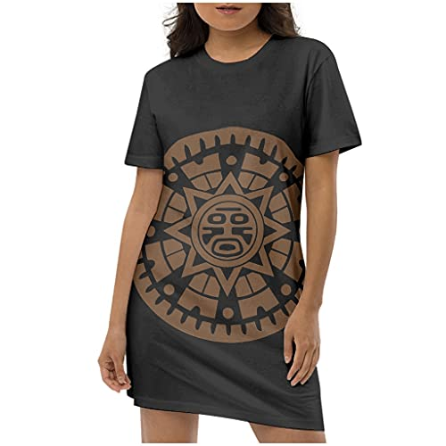 Knowikonwn Vestidos de manga corta maya ancestral para mujer, cuello redondo, casual, minivestido ajustado