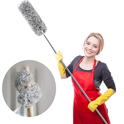 Webster Cobweb Duster, Feather Duster for Home, Extendable Dusters for Cleaning High Ceiling Fans, Hand Wall Duster, Long and Washable Dust Brush