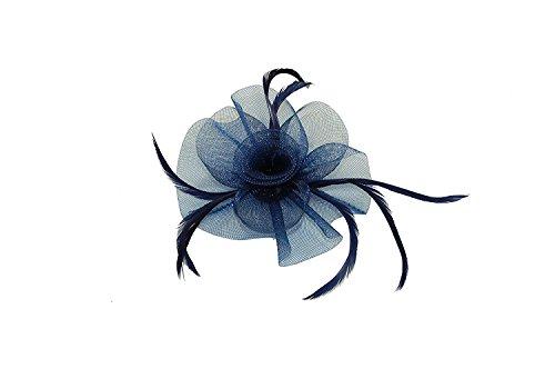 boucles filet avec centre volutes chapeau bibi sur un clip et broche rouleau en noir/rouge/bleu marine et crème - Bleu marine, Taille Unique