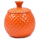 Athorbot Ceramic Kitchen Canister with Lid for Household Products Storage, Store Keys, Necklaces,Earrings, Rings(Orange)