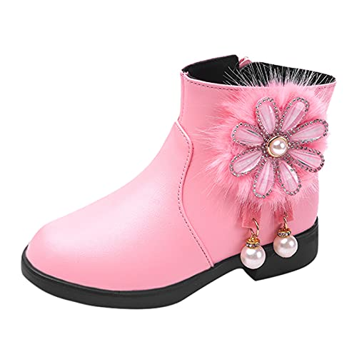 KewlCover Girls Floral Booties Girl's Waterproof Lace Side Zipper Fur Lined Short Winter Boots Autumn/Winter Shoes Booties
