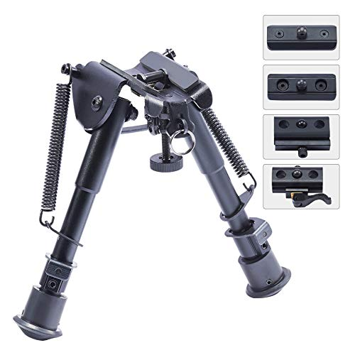Pinty Aluminum Rifle Bipod with 6 inch to 9 inch Adjustable Legs, Works with Rifle Slings and Picatinny QD Mounting, Black