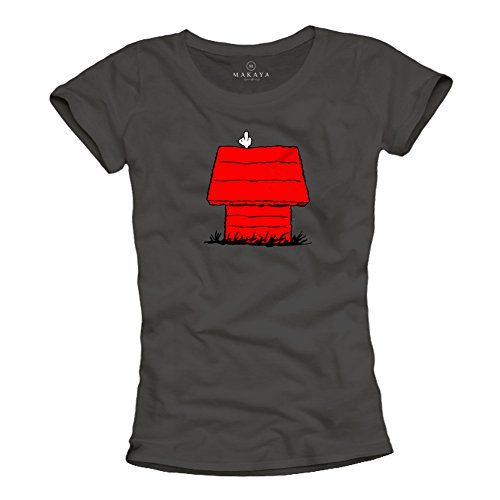 MAKAYA Magliette Donne con Stampe Divertenti - Snoop Dog - t-Shirt con Il Cane S