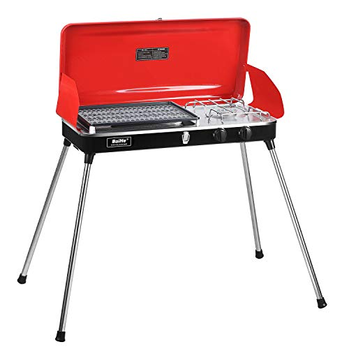 PUPZO Liquid Propane Grill,2 Burner Grill/Stove Portable Barbecue Grill Outdoor Cooking Camping Stove Stainless Steel Red Grills Propane