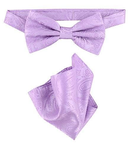 Vesuvio Napoli BowTie Lavender Purple Color Paisley Mens Bow Tie & Handkerchief