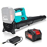 4000mAh Cordless Leaf Blower (1X Rechargeable Battery and 1X Charger Included), Electric Leaf Blower for Yard Cleaning, Powerful Light Battery Operated Leaf Blower for Leaf Snow Blowing, Blue