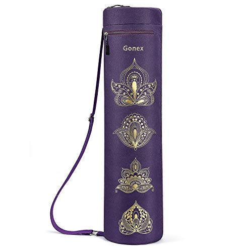 Gonex Yoga Mat Bag, Yoga Mat Carrier Full-Zip Exercise Carry Bag for Women with 2 Multi-Functional Cargo Pockets Extra Wide Adjustable Shoulder Strap, Paisley Purple