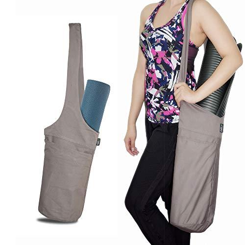 Yoga Mat Bag Set Tote Sling Carrier Shoulder Carrying Bag with Large Side Pocket & Zipper Pocket, Free Strap Carrier, Fits Most Size Mats, Cleaner, Blocks, Towel, Deodorant, Resistant Bands, Straps