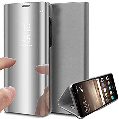 Caler ® Funda Compatible/Reemplazo para Xiaomi MI A2 Lite Funda,Flip Tapa Libro Carcasa Modelo Fecha Espejo Brillante tirón del Duro Case, Espejo Soporte Plegable Reflectante (Plata Plateado)