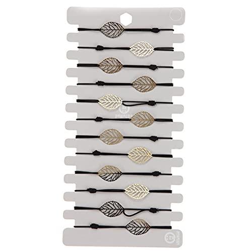 12 unids / set pulsera elástica de hoja hueca para mujer Color dorado hojas cadenas pulseras brazaletes joyería ajustable-A