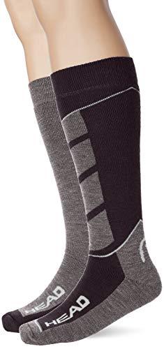 Head Ski V-Shape Kneehigh 2p Deporte, Negro (Black/White 213), 39/42 (Talla del Fabricante: 039) (Pack de 2) para Hombre