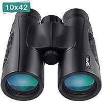 QUNSE Prismáticos Profesionales, Compactos 10x42 HD, Prismas Superiores Bak4 y Lentes ópticos FMC, para Observación de Aves, Camping, Conciertos, Caza, Safaris al Aire Libre.