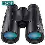 QUNSE 10X42 HD Jumelles, pour Adultes, Lentilles BAK4 Prisme FMC Vision Faible Luminosité,pour Le Voyage, l'Observation des...