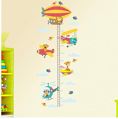 Lvabc Leuke Dieren in Vliegtuigen Hoogte Meetmuurstickers voor Kleuterschool Kinderkamer Woondecoratie Groeidiagram PVC Decal