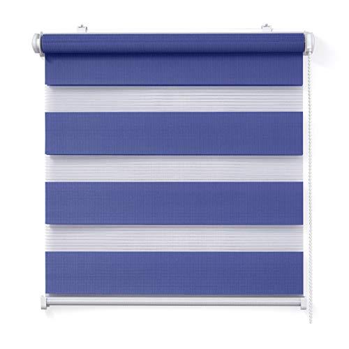 Doppelrollo, Blau, 100x150cm - Duo-Rollo Klemm Fix mit Klemmträger, Fenster-Rollo/Seitenzug-Rollo Ohne Bohren, lichtdurchlässig und verdunkelnd