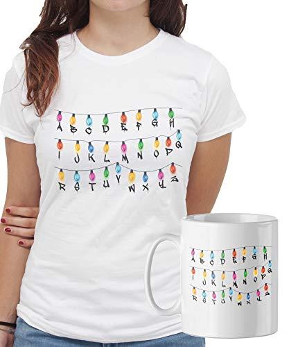iMage Promo T-Shirt con Tazza Mug Abbinata Stranger Things Luci Natale Casa - Serie TV - Donna S - Bianca