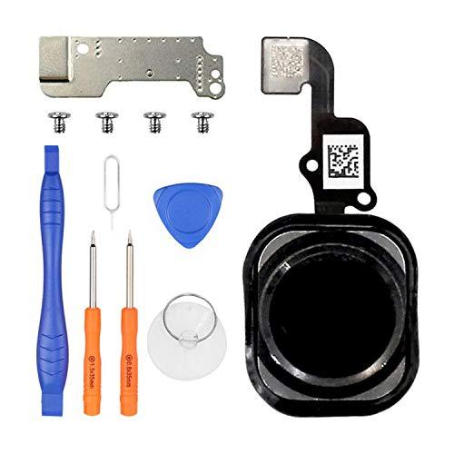 LL TRADER Bouton Home pour iPhone 6, iPhone 6 Plus Assemblage de Bouton Centra, iPhone 6/6 Plus Remplacement du Bouton d' Accueil avec Câble Flexible, Cache du Bouton Home Noir, Vis, Outils