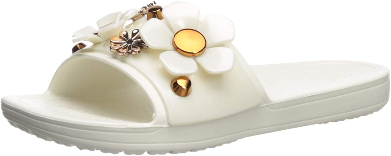 Crocs Womens Sloane Metal Blooms Slide Slide Sandal