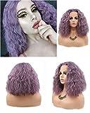 Bobina corta Bob Onda de agua Fibra a prueba de calor Fibra de pelo sintético de encaje Frente peluca de pelo esponjoso Color lila Color púrpura peluca para mujeres niñas Vacaciones de verano 14 '