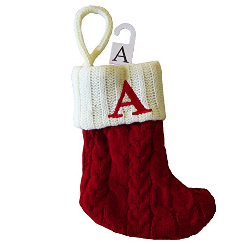 Mini Cable Knit Christmas Stocking with Letter