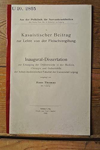 Kasuistischer Beitrag zur Lehre von der Fleischvergiftung.