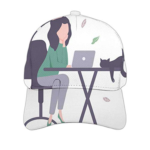 Young with Laptop and cat.- - Russia,Hat for Man and Women, Adjustable Baseball Cap Boredom One